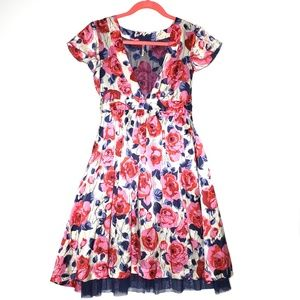 Free People Floral Silk Dress with Blue Lace 2
